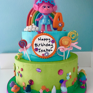 Trolls themed birthday cake