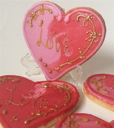 Red heart shaped cookies