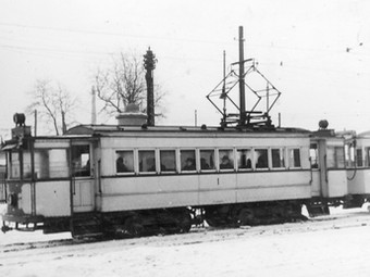 An English Electric Tram in the snow