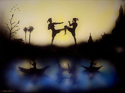 The Art of Muay Thai (Acrylic /Airbrush Painting on Canvas -121 x91 cm )