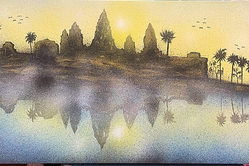 Angkor wat temple ( Acrylic /Airbrush painting on canvas 100 x 50 cm )
