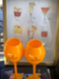 Veuve Clicquot cups and cocktail art