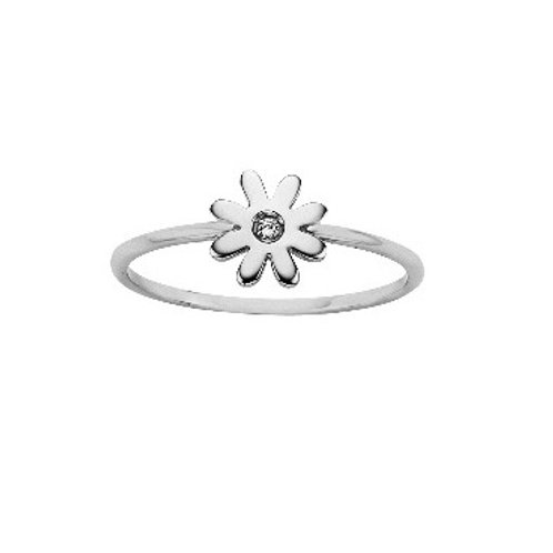 Mini Daisy Ring with Diamond- SILVER or 9ct GOLD
