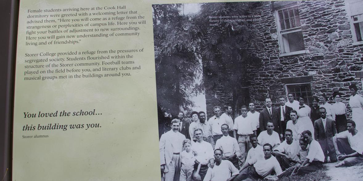 30. Storer College historical marker narrative enlarged.   (Photo by G. Maurice Ballard)