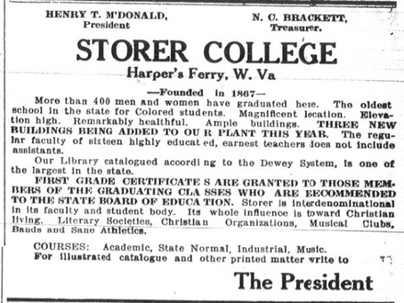Storer College 1910 advertisement