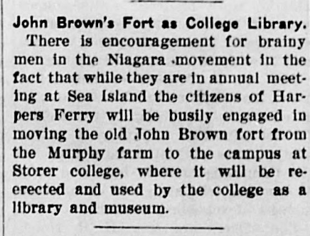 John Brown's Fort as College Library