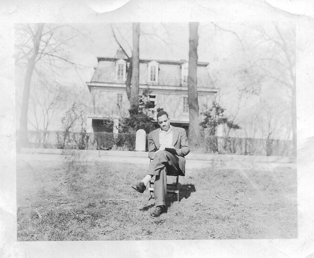 11. Student in front of Mosher Hall   (Courtesy of Sharon Spriggs and Ann Reeler)