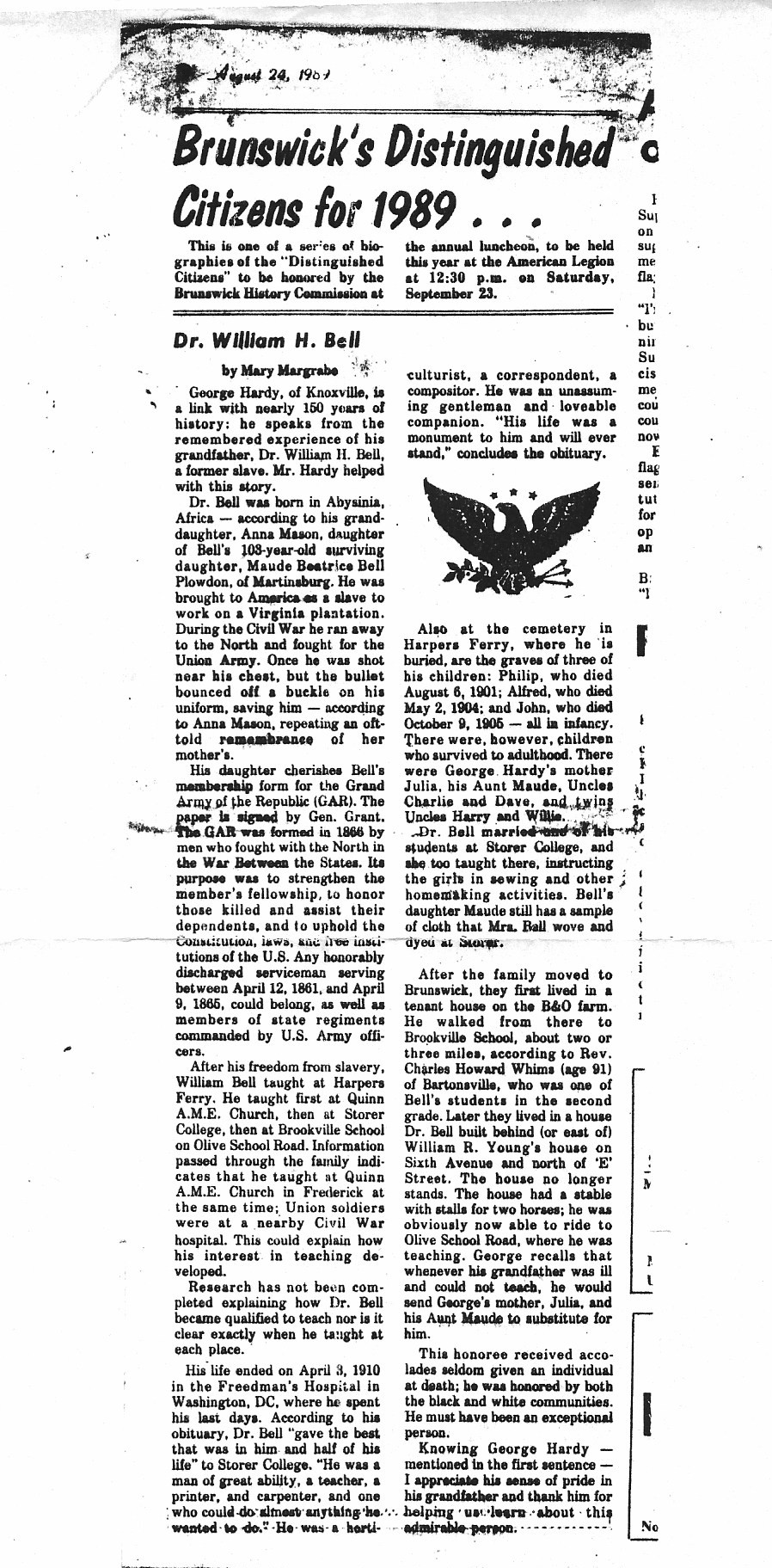 1. Dr. William H. Bell (Storer College)  Article dated August 24th,1989  (Courtesy of G. Maurice Ballard, great-grandson of William H. Bell )