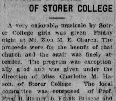 Storer College Girls Musicale
