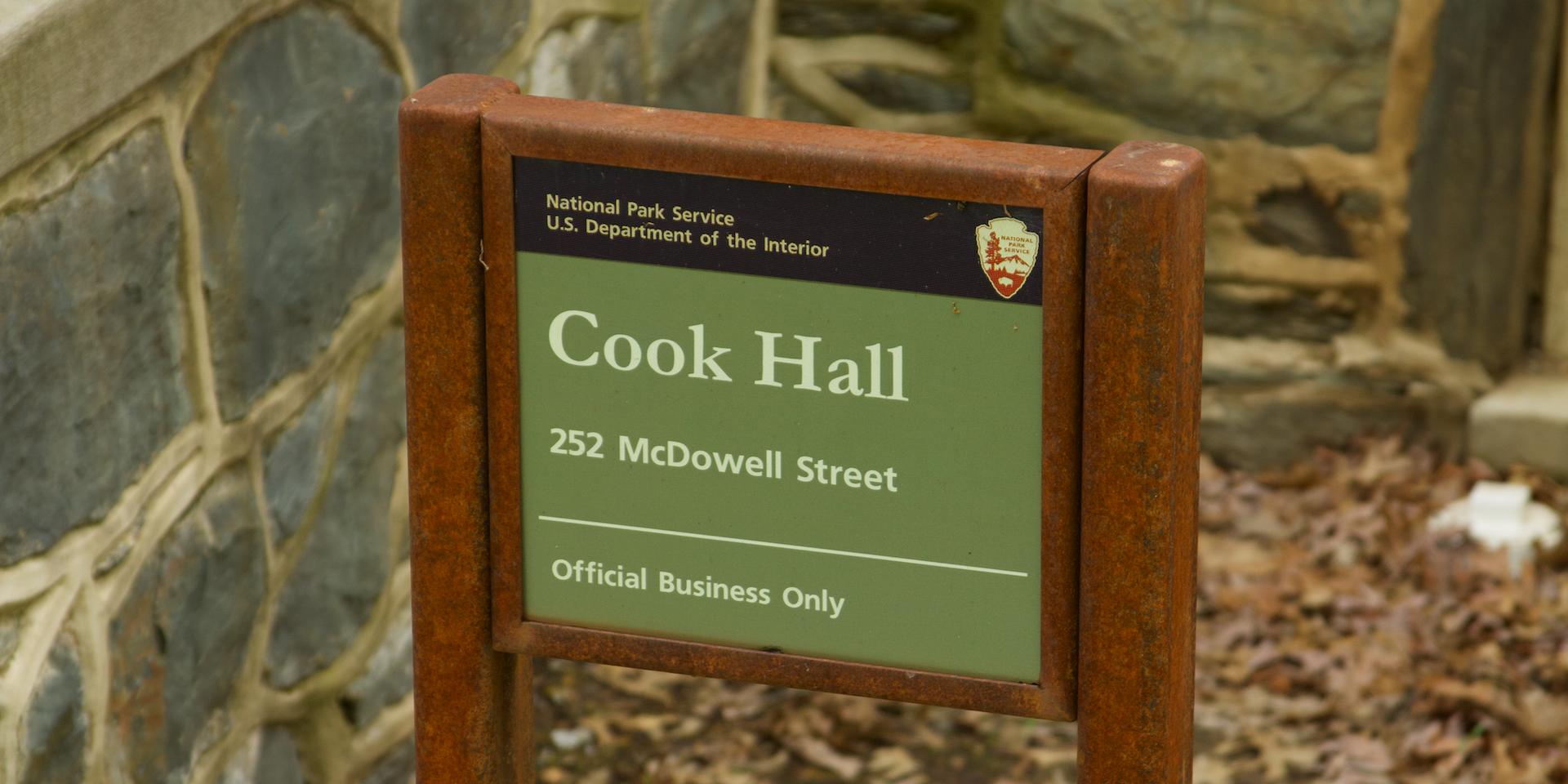 26. Cook Hall sign  (Photo by G. Maurice Ballard)
