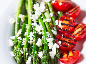 Grilled Sherman Farm Asparagus Salad with Lemon and Feta