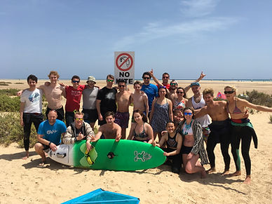 A Getwindsurfing student group enjoying Fuerteventura