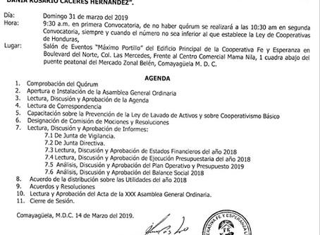 Este 31 de marzo Cooperativa Fe y Esperanza celebra su XXX Asamblea Ordinaria Sra. Dania Cáceres.