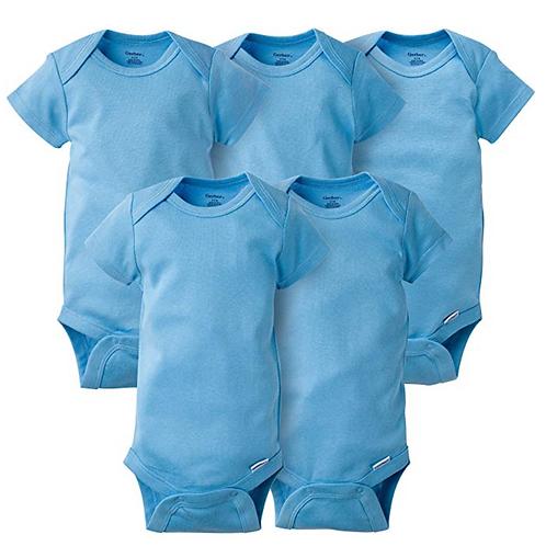 GERBER Baby 5-Pack Solid Onesies Bodysuits- Blue