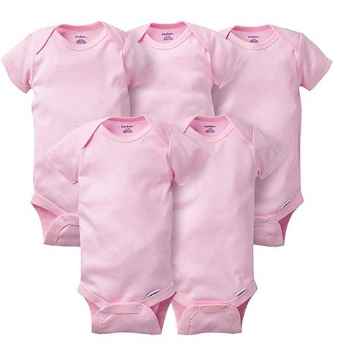 GERBER Baby 5-Pack Solid Onesies Bodysuits-Pink