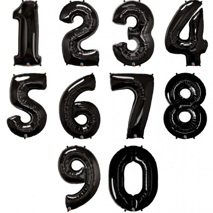 Zahlenballon   Schwarz   Anagram XL   Mit oder ohne Helium