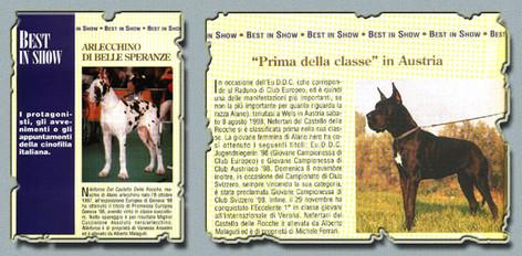 """Ch. Nikiforos Del Castello Delle Rocche (6 mesi) Rivista """"ARGOS"""" Agosto 1998 e Ch. Nefertari Del Castello Delle Rocche Rivista """"ARGOS"""" Febbraio 1999"""