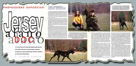 """Ch. Jersey Del Castello Delle Rocche - Rivista """"CANI"""" Febbraio 1999"""
