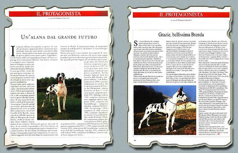 """Ch. Gretel e Ch. Brenda Del Castello Delle Rocche rispettivamente Rivista """"CANI"""" Aprile 1997 e Settembre 1997"""