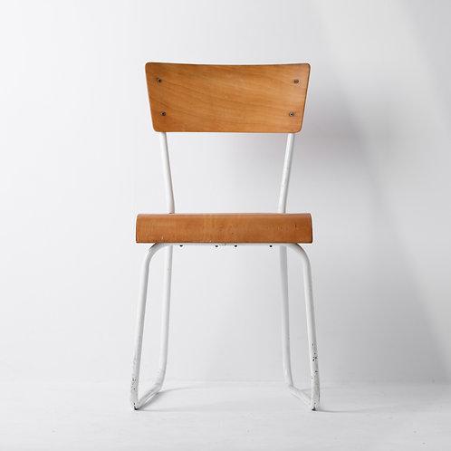 c-21v | Vintage School Chair White Steel