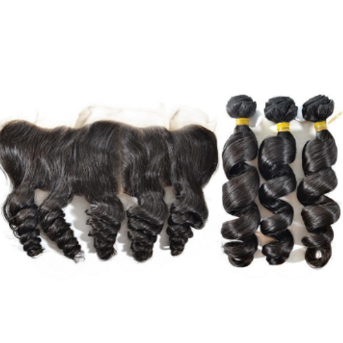 Spiral Curl Hair (3) Bundles With Frontal