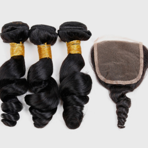 Spiral Curl Hair (3) Bundles With Closure