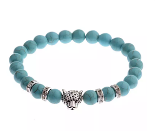 Panther Medallion with Turquoise Bead Bracelet