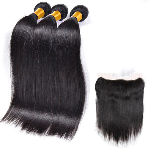 Silk Press Hair (3) Bundles With Frontal