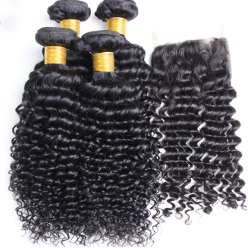 Deep and Wet Hair (4) Bundles With Closure
