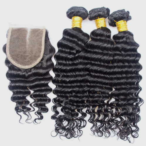 Deep and Wet Hair (3) Bundles With Closure