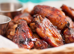 hot and spicy chicken wings with dip and