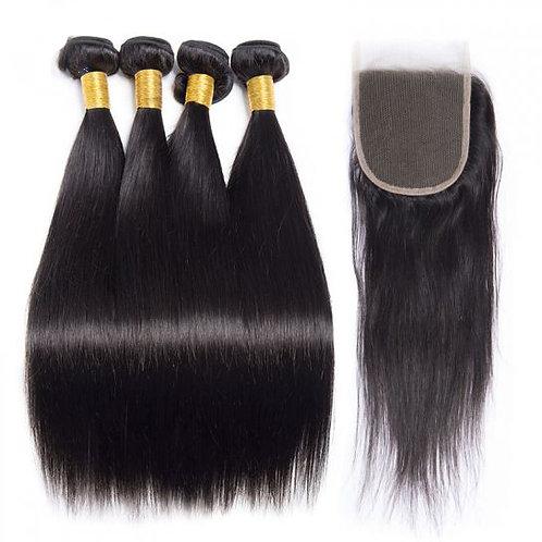 Silk Press Hair (4) Bundles With Closure