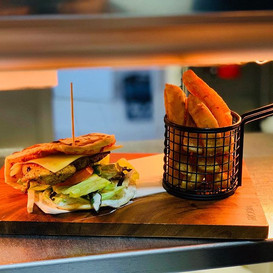 This is our Chermoula Chicken Burger, se
