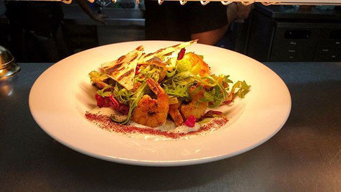 Our Grilled Prawn & Avo Salad, with spic