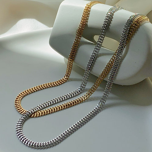 Double Layer Flat Chain Necklace