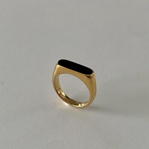 Black Enamal Signet Ring