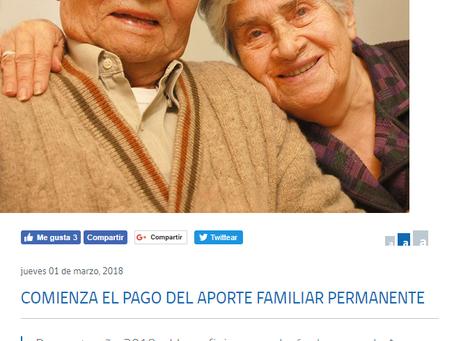 COMIENZA EL PAGO DEL APORTE FAMILIAR PERMANENTE