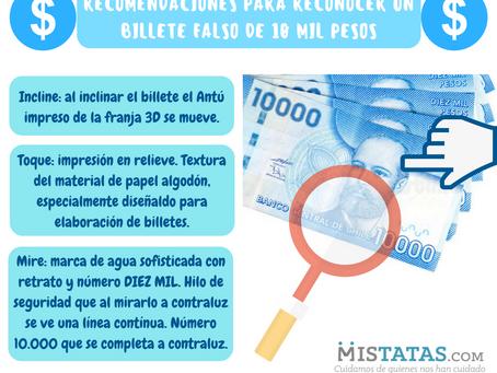 RECOMENDACIONES PARA RECONOCER UN BILLETE FALSO DE 10 MIL PESOS.