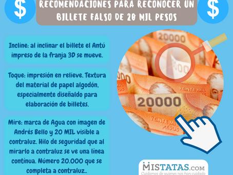 RECOMENDACIONES PARA RECONOCER UN BILLETE FALSO DE 20 MIL PESOS.