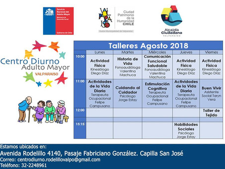CENTRO DIURNO ADULTO MAYOR VALPARAÍSO - TALLERES AGOSTO 2018