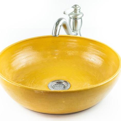 כיור מקרמיקה, צבע צהוב חרדל, כיור בעבודת יד