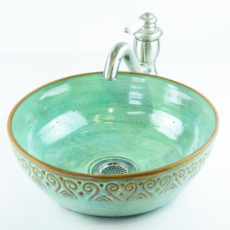 כיור קרמיקה בעבודת יד, בצבע ירוק טורקיז