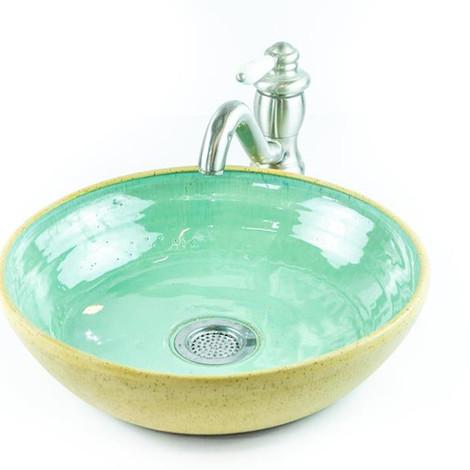 כיור מקרמיקה, צבע ירוק בקבוק עבודת יד