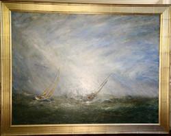 "Battling the Sea, 36"" x 48"""