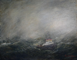 """Tugboat in Rough Weather 44"""" x 56"""""""