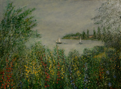 """Two Yachts & Wild Flowers, 36"""" x 48"""""""