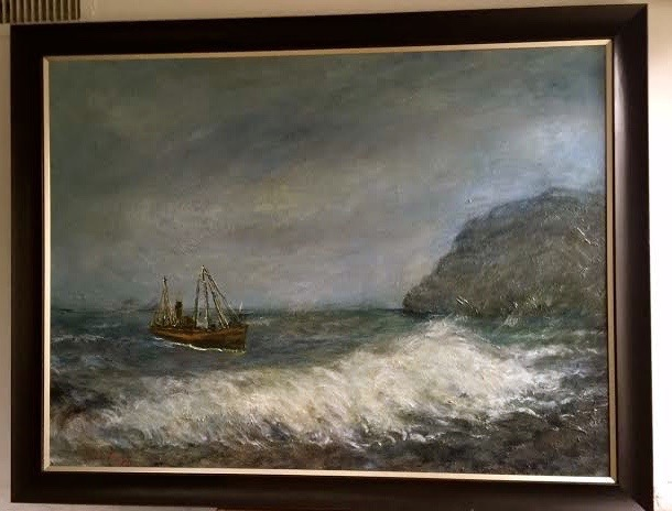 "Fishing Boat and Big Wave, 36"" x 48"""