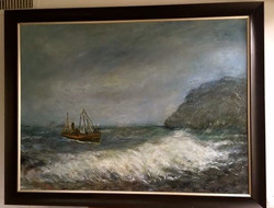 """Fishing Boat and Big Wave, 36"""" x 48"""""""