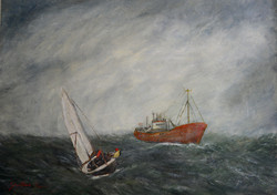 """Trader and a Yacht 36"""" x 48"""""""
