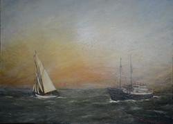 "Sunset at Sea, 36"" x 48"""